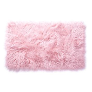 Light Pink Faux Mongolian Rectangle Scatter Rug