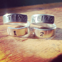 Thing 1/ thing 2  two spiral rings to share with sister, friend, twin, cousin  made from aluminum 1100, hand stamped