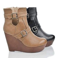 Osean3 By Kayleen, Round Toe Buckled Cut Out Platform High Wedge Heel Ankle Bootie