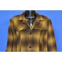 50s Gold Brown Shadow Plaid Winter Coat Extra Large