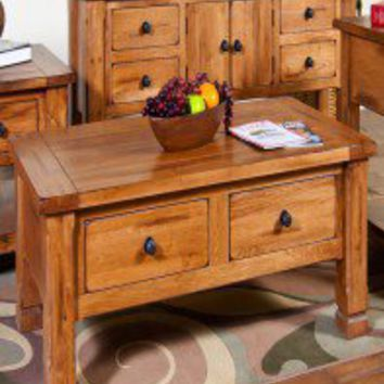 Sunny Designs Sedona Two Drawer Coffee Table in Rustic Oak - 3133RO - Accent Tables - Decor