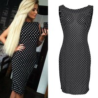 2019Summer FashionVestidos Women Ladies New Casual Dress Sleeveless Dot Printed Sheath Dresses Women Clothing Plus Size