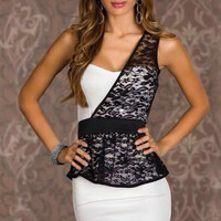 White One-shoulder Lace Mini Peplum Bodycon Dress