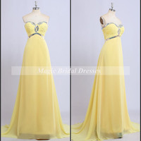 Classic Sweetheart Sequins A-line Long Prom Dress with Train Charming Empire Long Women Yellow Dresses Lace up closure long prom dresses