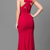 Long Red V-Neck Chiffon Prom Dress with Back Bow