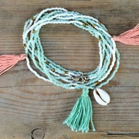 Tassel and Shell Beaded Double Strand Boho Necklace/Bracelet/Anklet in Coral and Mint// Boho Long Necklace / Wrap Jewelry/ Bohemian Fringe