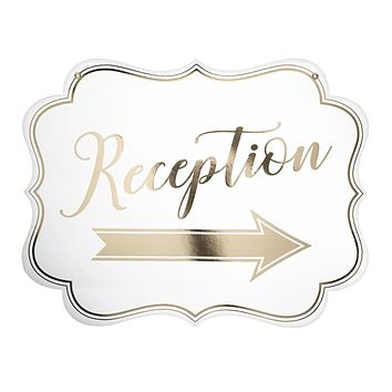 White and Gold Arrow Reception Sign