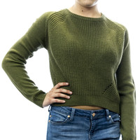 Pretty Rebellious Women's Cropped High Low Sweater Olive Green Large