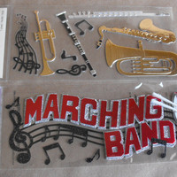 Marching Band stickers by Jolees Scrapbooking Card Making Paper Crafting trombone Clarinet saxophone flute