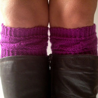 Purple Boot Liners Plum Boot Cuffs Handknit Cabled Boot Toppers