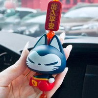 Chinese Style Lucky Cat Hanging Pendant Home Decoration  Auto Rearview Mirror Ornament Accessories Christmas Gifts Car Styling