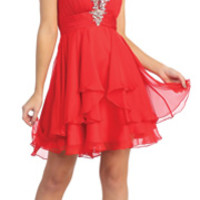2014 Prom Dresses - Red Beaded Strapless Sweetheart Empire Cocktail Dress