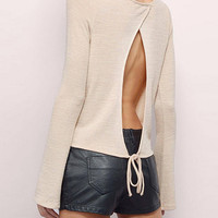 Beige Long Sleeve Top with Open Back
