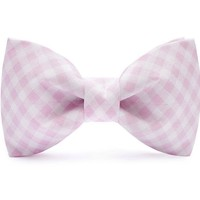 Soft Pink & White Checkered Bow Tie