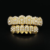 Shiny! Real Silver Gold color CZ Full Rhinestone Hip Hop Teeth For Mouth GRILLZ Caps Top & Bottom Grill Set Vampire Teeth