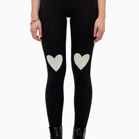 Black Heart Printed Leggings