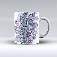 The Subtle Pink and Blue Vector Sprout ink-Fuzed Ceramic Coffee Mug