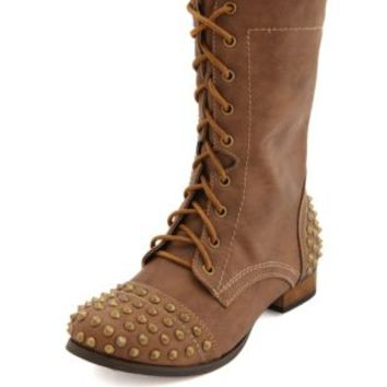Spiked Lace-Up Combat Boot by Charlotte Russe - Cognac