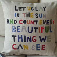 1  linen  colorful words let us lay in the sun printed  by linxge
