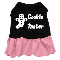 Cookie Taster Dog Dress - Black with Pink/Extra Small