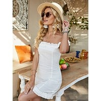 Solid Frill Trim Fitted Dress