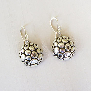 Organic Texture Sterling Silver Earrings - Bubble Earrings - Round Black and Silver Earrings - Original and Delicate - Contemporary Jewelry