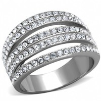 Zelda's 5 Row Stainless Steel Crystal Stone Ring