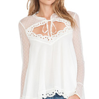 Free People Black Magic Cutout Blouse in Ivory
