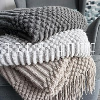 Plaid Fleece Throw Blanket Northern Europe Solid Hubble-bubble Blanket Carpet Sofa Blanket Knitted Plaid Knitted Blanket