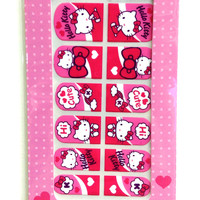 Hello Kitty Nail Stickers DIY Wrap Decals Pink Magenta Cute Pattern