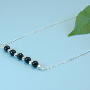 Silver and black necklace, beaded bar necklace, silver necklace, black bead necklace, sterling silver necklace