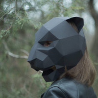 Panther Mask,Cat Mask,DIY 3D mask,PDF,Polygon Paper Mask,Template,Printable,Animal,Pattern mask,Low Poly,Papercraft Face Mask,Costume,Party
