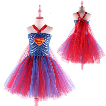 Superhero Inspired Girl Tutu Dress Wonder Woman Batman Superman Pumpkin Cosplay Photo Prop Dress Girls Costume Birthday Gift