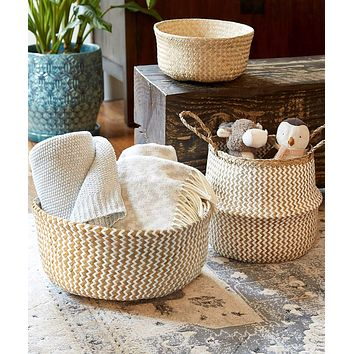 Small Belly Basket with Handles (Set 2) | Woven Baskets for Laundry Storage & Home Supplies