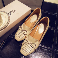 Leather With Heel Tassels Butterfly Square Toe Shoes [4919872260]
