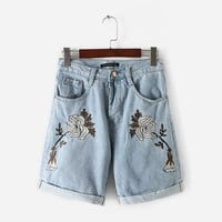 Embroidered High Waist Denim Shorts