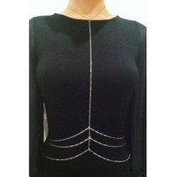 [B/J]-Three Layers Waist Deep Body Chain- Silvertone