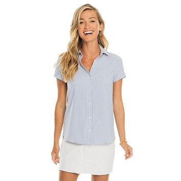 Courtney Striped Intercoastal Short Sleeve Button Down Shirt by Southern Tide