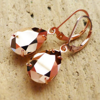 Rose Gold Earrings, Swarovski Crystal Rhinestone Pear, 14K Rose Gold Leverbacks, Bridesmaid Gifts, Rose Gold Jewelry, Crystal Rhinestones