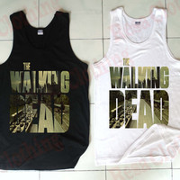 The Walking Dead Tank, The Walking Dead Clothing, Black and White Tank, Mens Tank, Womens Tank, Ladies Tank, Screen Print