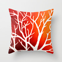 BLAZING TREES Throw Pillow by Morgan Ralston