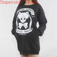 Cartoon Sailor Moon Women Hoodies Japan Kawaii Cool Women's Clothing Self-Design Gothic Lolita Punk Sweatshirt Cute Pullovers