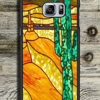 Cactus Stained Glass Samsung Galaxy S6 Edge Plus Case
