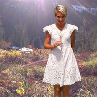 SPRING SALE White Mini Butterfly Lace Dress