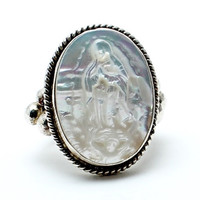 Lady of Guadalupe Pearl Native American Ring