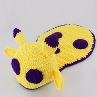 Purple And Yellow Monster Knit Hat Outfit - CCA70 CLOSEOUT