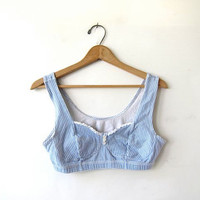 vintage sports bra. 90s bralette. checkered blue cropped tank top. yoga work out top.