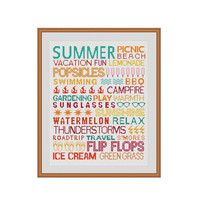 Summer cross stitch, Summer subway art, Welcome summer, Summer printable, Summer decor, Cross stitch charts, Printable PDF, Xstitch pattern