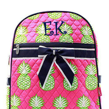 Navy and Pink Pineapple Monogrammed Backpack  Monogram Quilted Backpack  Personalized Backpack