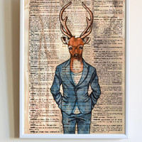 Stag Head Print Deer in a Suit Dictionary Paper Animal Poster Bedroom Wall Art Decor